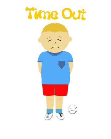 time out: naughty little boy in time out illustration