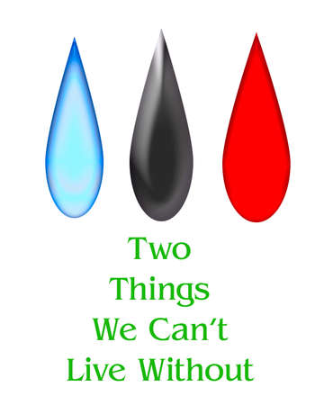 drops of oil blood and water poster illustration Stok Fotoğraf