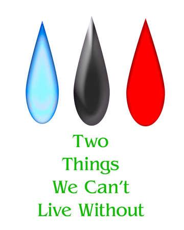 druppels olie bloed en water poster illustratie
