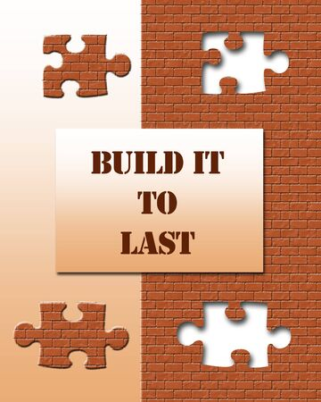 bricks and puzzle pieces on gradient background illustration