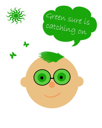 misconception: smiling face wearing green tinted glasses illustration  Stock Photo