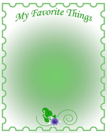 favorite things border around gradient green center illustration