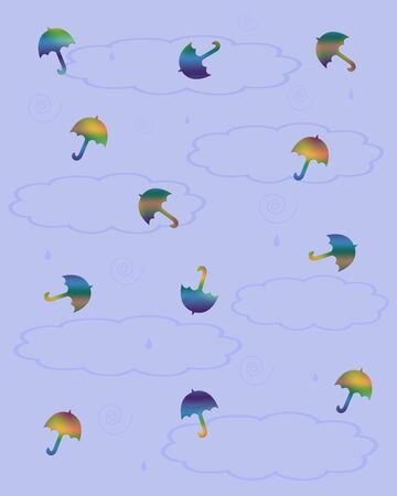 tiny colorful umbrellas scattered on blue background illustration