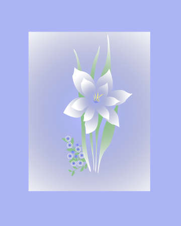soft blue and white flowers and frame illustration Imagens