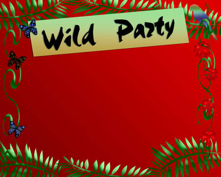 blank center: jungle theme red and green blank center illustration