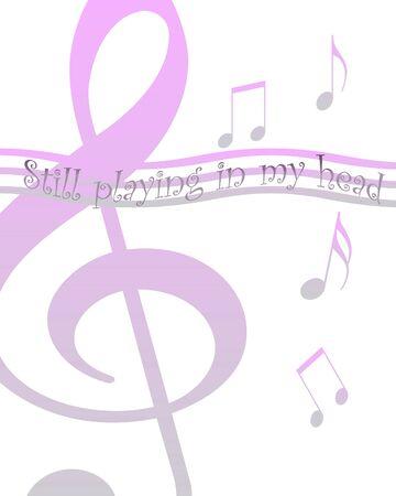 music notes floating on white background illustration Stok Fotoğraf - 9195844