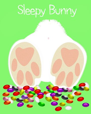 fuzzy feet and colorful jelly beans illustration Stock fotó