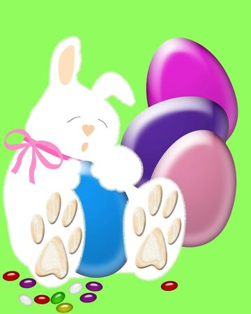 Easter eggs and jellybeans around sleeping bunny