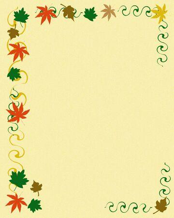 colorful leaves autumn scrapbook frame blank center illustration illustration