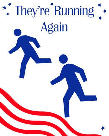 running figures on white background political illustration Stock Photo