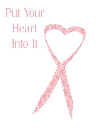 ribbons: pink ribbon mosaic heart combined poster illustration