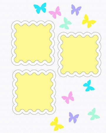 カラフルなアソート スクラップ ブック ページ イラスト蝶