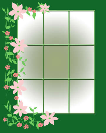 pane: pink flowers and vines around a window illustration