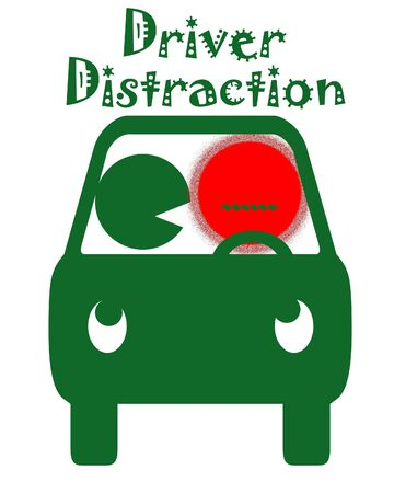 driver distracted by passenger green and red poster illustration