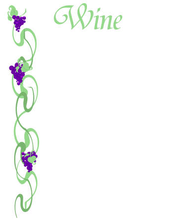 purple grapes and green vines on white illustration