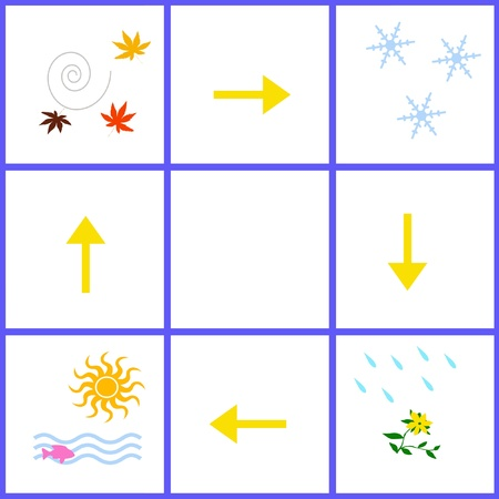 illustrated: four seasons illustrated on white background grid