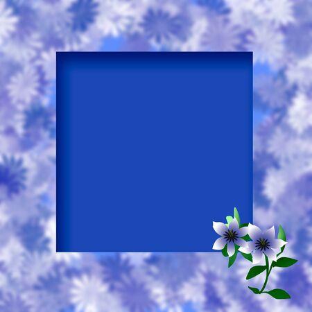 restful: floral background dark blue frame scrapbook illustration