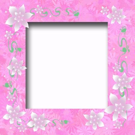pink and white floral scrapbook frame illustration Stok Fotoğraf - 9449206
