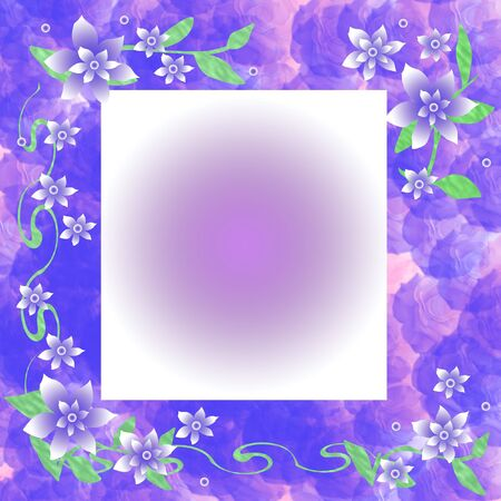 lavender and white floral scrapbook frame illustration Stock Photo