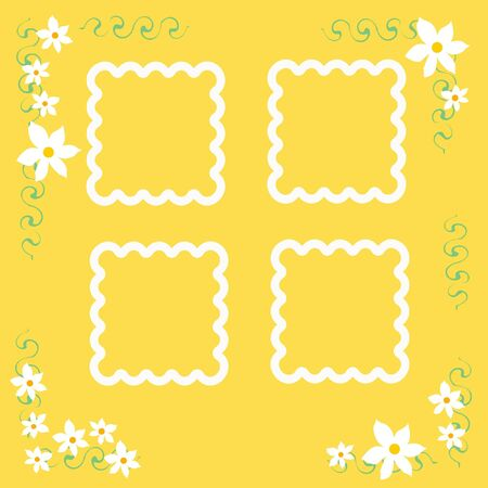 encircle: white flowers and vines frame yellow scrapbook page illustration