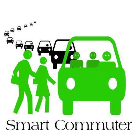 commuters boarding public transportation green on white illustration Stock Photo