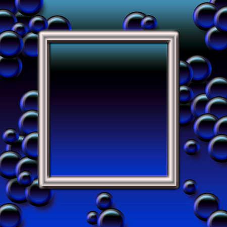 スクラップ ブックのフレーム図に濃い青い泡