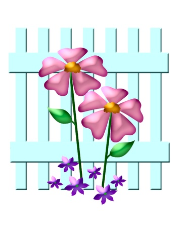 pink flowers and blue garden fence illustration
