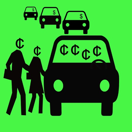 depart: thrifty commuters sharing a carpool vehicle illustration Stock Photo