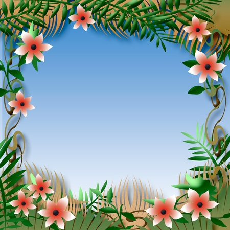 illustrated: tropical flowers and foliage colorful illustrated frame