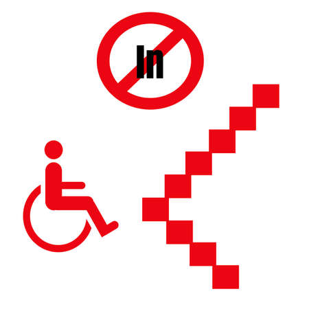wheelchair inaccessibility red and black on white illustration