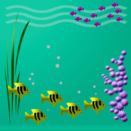 illustrated: bright tropical fish swim colorful illustrated frame