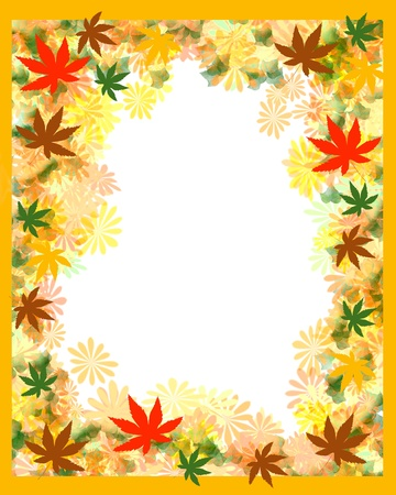 colorful leaves autumn scrapbook frame blank center illustration