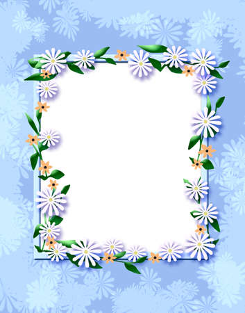 white daisies and pink flowers scrapbook frame illustration 版權商用圖片 - 9749382
