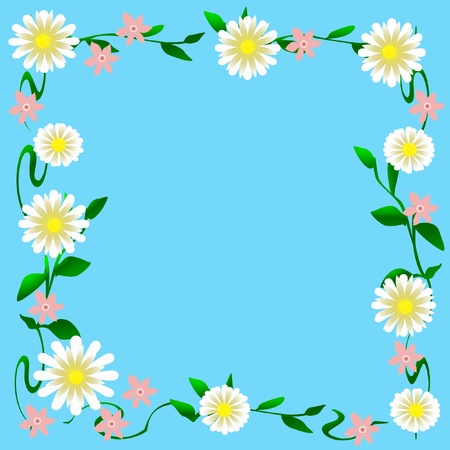 pink and white flowers on blue background