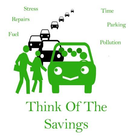 slimme forenzen die een illustratie van het carpoolvoertuig delen
