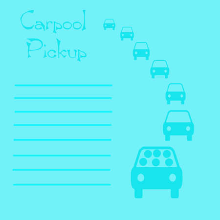 blue carpool reminder vehicles in traffic illustration