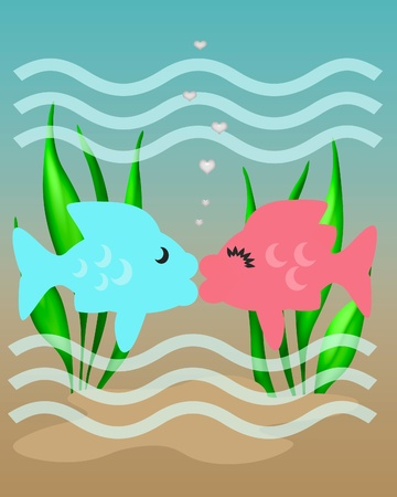 pink and blue fish with lips kissing illustration