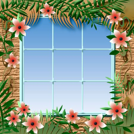 tropical hibiscus flowers and vines around a window illustration Stock Illustration - 9943459