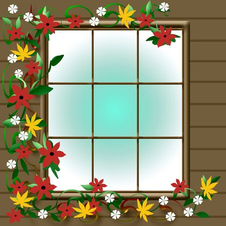 autumn color foliage outside a cabin window illustration Stock Photo