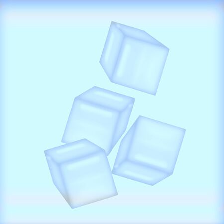 opaque ice cubes on cool blue background illustration Stok Fotoğraf - 9947127