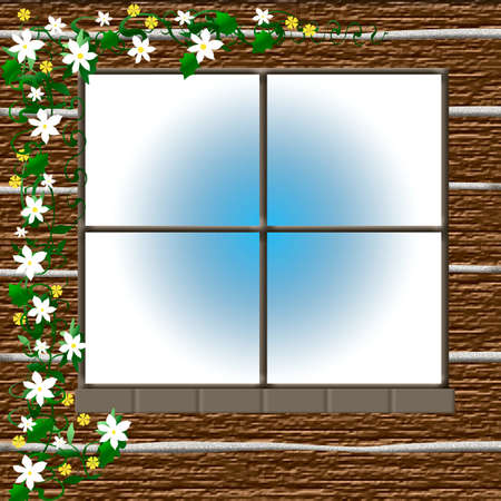 flowering vine around a rustic cabin window illustration