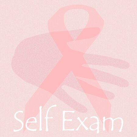 hand and pink ribbon self exam poster illustration Stock Illustration - 9947131