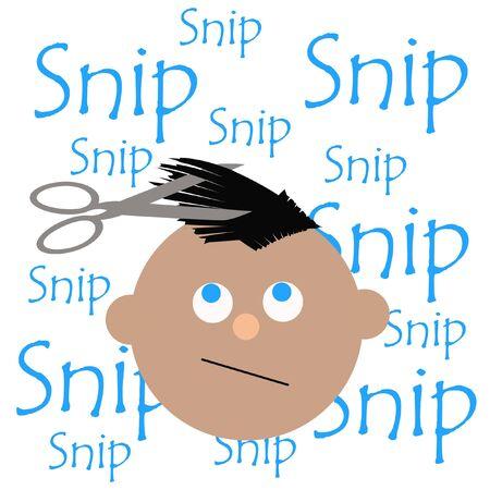 Junge, der Haarschnittwörtern auf weißer Illustration erhält Standard-Bild - 9947135