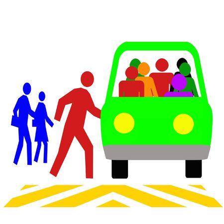 公共交通機関の車両イラストを使用したカラフルな通勤者