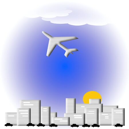 autos: city sunrise commuter autos and airplane illustration