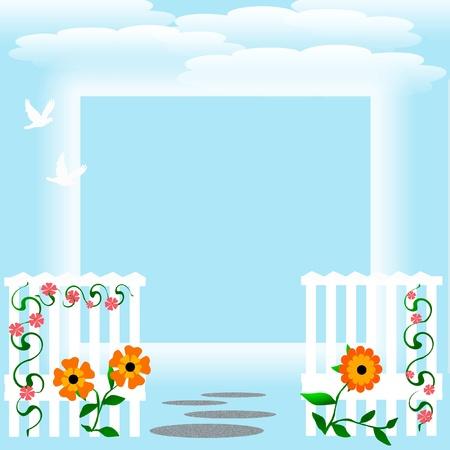 orange flowers and white fence on blue background