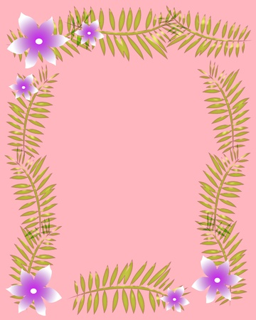 pink background with flowers and palm fronds illustration Stok Fotoğraf - 10054475