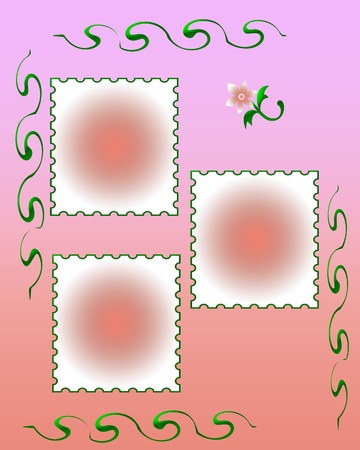 pink background with delicate cutouts scrapbook illustration