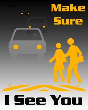 pedestrian and traffic poster black and gold illustration Stock Illustration - 10184567