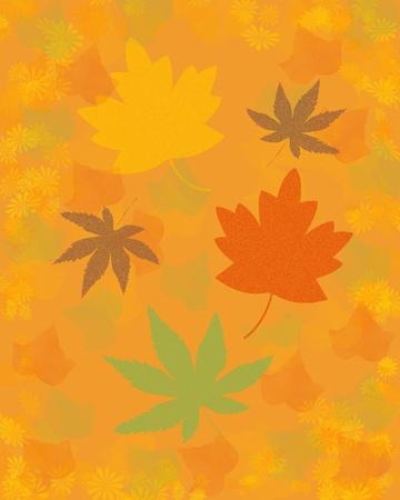 autumn leaves on mottled background warm colors illustration illustration